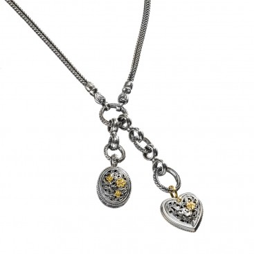 Gerochristo 3312 ~ Solid Gold & Silver ~ Heart Cable Charms Necklace