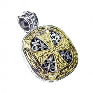 Gerochristo 3315 ~ Solid Gold & Silver - Medieval Byzantine Cross Pendant