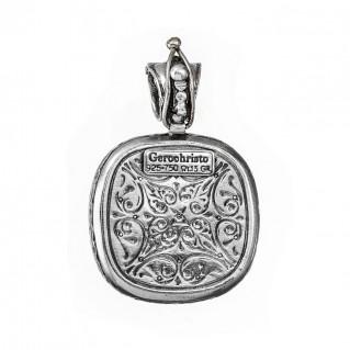 Gerochristo 3316 ~ Solid Gold, Silver & Ruby - Medieval-Byzantine Cross Pendant