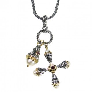 Gerochristo 3320 ~ Gold, Silver & Stones ~ Byzantine-Medieval Cable Charms Necklace