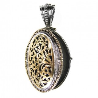 Gerochristo 3321 ~Solid Gold & Sterling Silver - Medieval-Byzantine Filigree Oval Locket Pendant