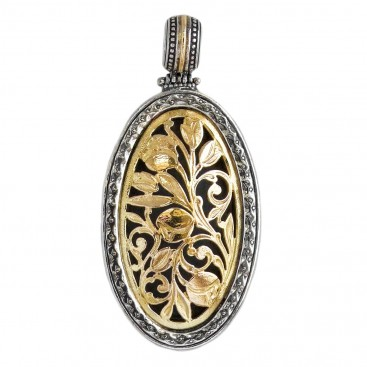 Gerochristo 3322 ~ Solid Gold & Silver Medieval Byzantine Oval Filigree Pendant