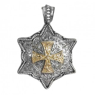 Gerochristo 3325 ~ Solid Gold and Silver Medieval Hexagonal Pendant with Cross