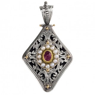 Gerochristo 3331 ~ Solid Gold, Silver & Stones Medieval Byzantine Large Pendant