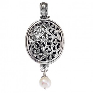 Gerochristo 3344 ~ Filigree Medieval-Byzantine Pendant- Sterling Silver & Pearl