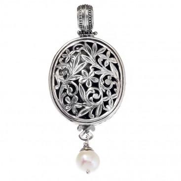 Gerochristo 3344 ~ Filigree Medieval-Byzantine Pendant- Sterling Silver & Pearl