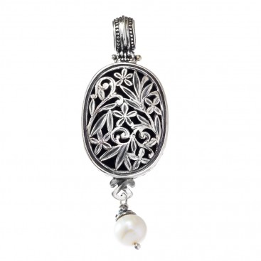 Gerochristo 3345 ~ Filigree Medieval-Byzantine Pendant- Sterling Silver & Pearl