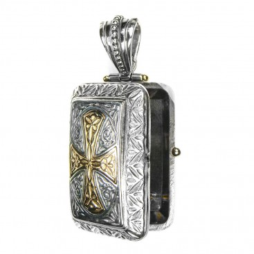 Gerochristo 3349 ~ Solid 18K Gold & Sterling Silver Engraved Rectangular Locket Pendant