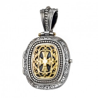 Gerochristo 3350 ~Solid Gold & Silver - Medieval-Byzantine Locket Pendant with Cross