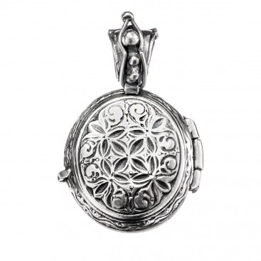 Gerochristo 3351 ~ Sterling Silver Engraved Oval Locket Pendant