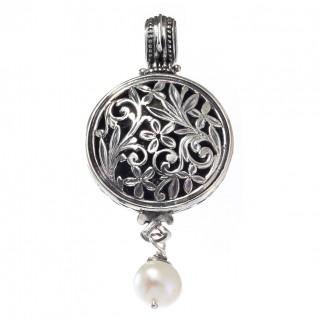 Gerochristo 3355 ~ Filigree Medieval Byzantine Pendant- Sterling Silver & Pearl Drop