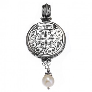 Gerochristo 3355 ~ Filigree Medieval Byzantine Pendant- Sterling Silver & Pearl Drop