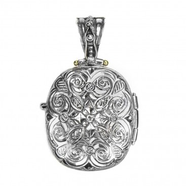 Gerochristo 3356 ~Solid Gold, Silver & Stone - Medieval Byzantine Locket Pendant