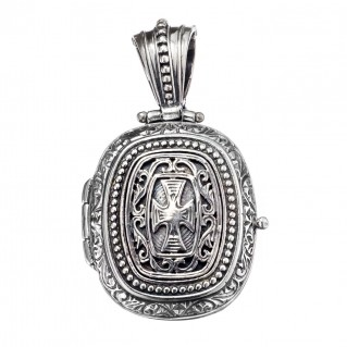 Gerochristo 3357 ~Medieval-Byzantine Sterling Silver Locket Pendant with Cross