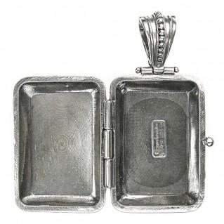 Gerochristo 3358 ~ Sterling Silver Engraved Rectangular Locket Pendant