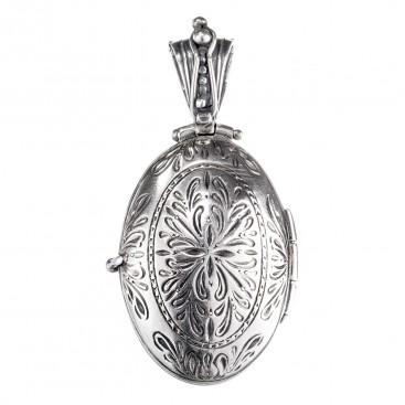 Gerochristo 3359 ~ Sterling Silver Byzantine Medieval Engraved Locket Pendant