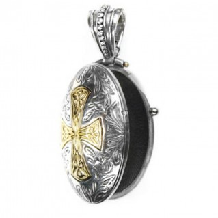 Gerochristo 3360 ~ Solid 18K Gold & Silver Engraved Locket Pendant with Cross