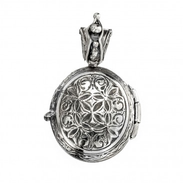 Gerochristo 3367 ~ Solid 18K Gold & Silver Engraved Locket Pendant with Cross
