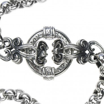 Gerochristo 3369 ~ Sterling Silver Medieval Byzantine Floral Necklace