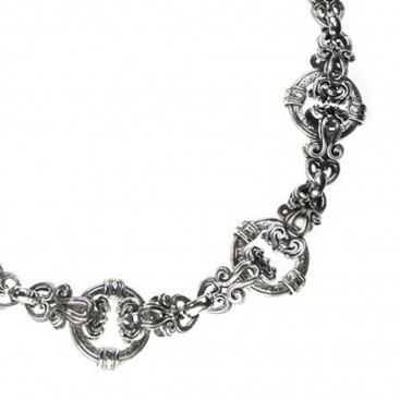 Gerochristo 3377 ~ Sterling Silver Medieval Byzantine Floral Necklace