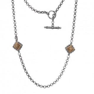 Gerochristo 3395 ~ Solid Gold & Silver ~ Byzantine Medieval Station Necklace