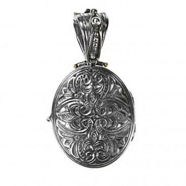 Gerochristo 3409 ~ Solid Gold, Silver & Enamel Hand Painted Archangel Michael Icon Locket