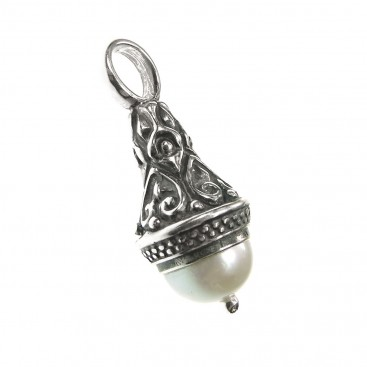 Gerochristo 3418 ~ Medieval-Byzantine Small Pendant- Sterling Silver & Pearl