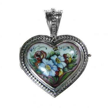 Gerochristo 3423 ~ Sterling Silver & Painted Porcelain Heart Locket Pendant -L
