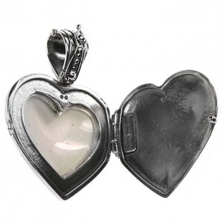 Gerochristo 3425 ~ Sterling Silver & Painted Porcelain Heart Locket Pendant -L