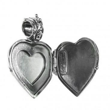 Gerochristo 3433 ~ Sterling Silver & Painted Porcelain Heart Locket Pendant - S