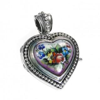 Gerochristo 3435 ~ Sterling Silver & Painted Porcelain Heart Locket Pendant - S