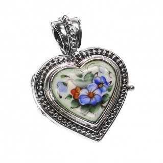 Gerochristo 3437 ~ Sterling Silver & Painted Porcelain Heart Locket Pendant - S