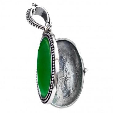 Gerochristo 3447 ~ Sterling Silver Medieval Byzantine Oval Locket Pendant