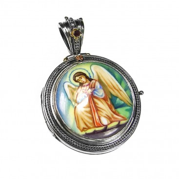 Gerochristo 3456 ~ Solid Gold, Silver & Enamel Hand Painted Angel Icon Locket Pendant