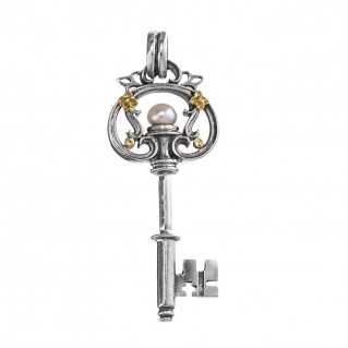 Gerochristo 3462 ~ Solid Gold, Silver & Pearl Medieval Byzantine Key Pendant