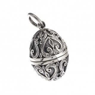 Gerochristo 3464 ~ Sterling Silver Ornate Egg Locket Pendant