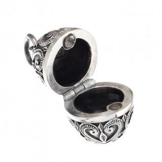 Gerochristo 3464 ~ Sterling Silver Ornate Egg Locket Pendant