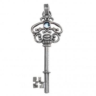 Gerochristo 3473 ~ Sterling Silver & Zircon Medieval Byzantine Key Pendant