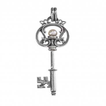 Gerochristo 3474 ~ Sterling Silver & Pearl Medieval Byzantine Key Pendant