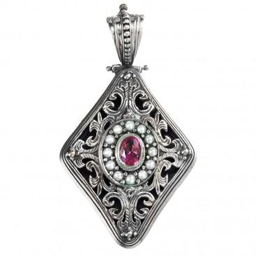 Gerochristo 3475 ~ Sterling Silver & Stones Medieval Byzantine Large Pendant