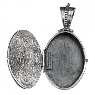 Gerochristo 3480 ~ Sterling Silver Filigree Oval Locket Pendant