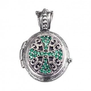 Gerochristo 3496 ~ Sterling Silver Engraved Cross Locket Pendant