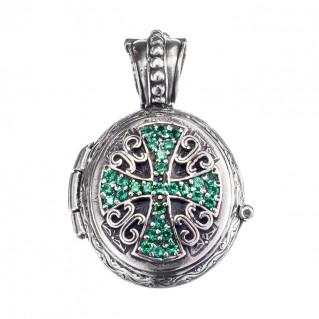 Gerochristo 3496 ~ Sterling Silver Engraved Cross Locket Pendant