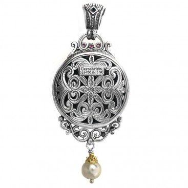 Gerochristo 3551 ~ Solid Gold, Silver & Pearl Medusa Large Pendant