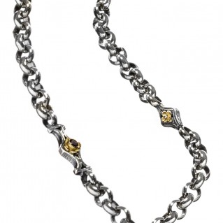 Gerochristo 4072N ~ Solid Gold & Silver Medieval-Byzantine Station Necklace