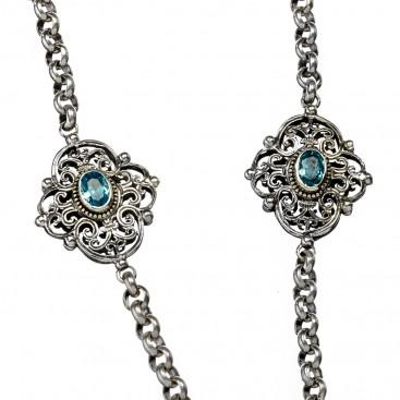 Gerochristo 4077N ~ Sterling Silver Medieval Byzantine Station Necklace