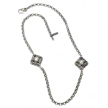 Gerochristo 4078N ~ Sterling Silver Medieval Byzantine Station Necklace