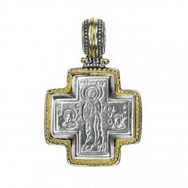 Gerochristo 5004 ~ Solid 18K Gold & Sterling Silver Byzantine Cross Pendant