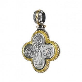 Gerochristo 5006 ~ Solid 18K Gold & Sterling Silver Byzantine Cross Pendant
