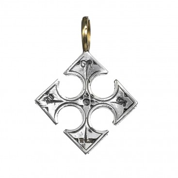 Gerochristo 5010 ~ Solid Gold, Silver & Garnet Byzantine Medieval Cross Pendant